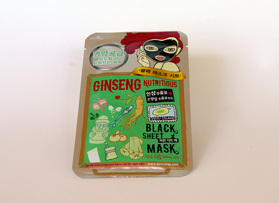 memebox global #10 - dewytree ginseng nutritious black sheet mask