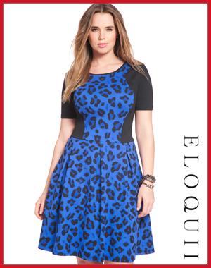 Eloquii Cheetah Fit and Flare Ponte Dress