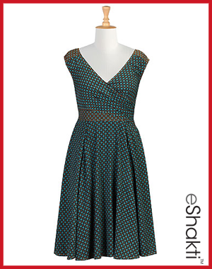 eShakti Layered Surplice Tile Print Dress