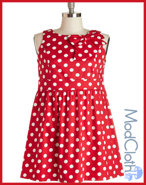 ModCloth The Pennsylvania Polka Dress in Ruby Dots