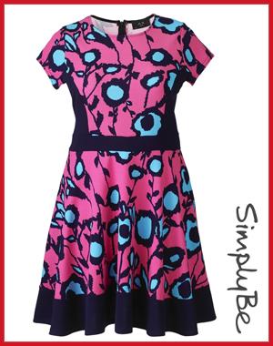 SimplyBe AX Paris Pink Blue Skater Dress