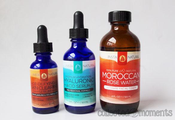 Instanatural Moroccan Rose Water Toner, Hylauronic Acid Serium, Age-Defying Serum