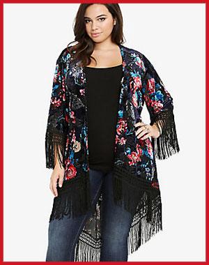 Torrid: Velvet Floral Open-Front Fringe Kimono