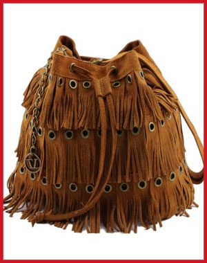 Tuscany Leather: Suede Fringe Shoulder Bag