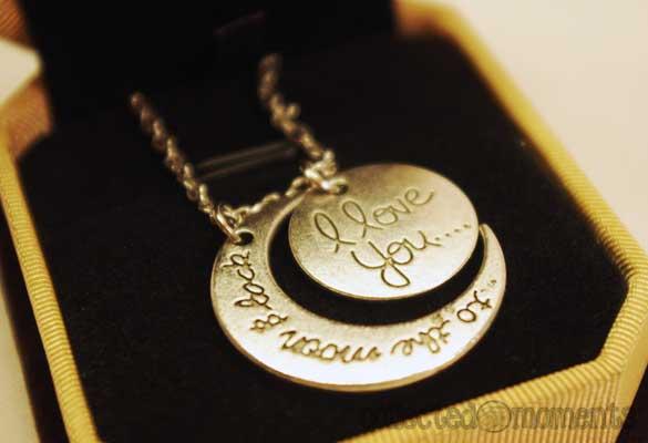 Silver Tone Lunar Crescent Pendant Necklace